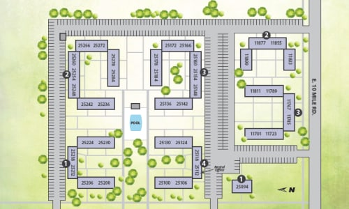 Printable site map image at The Meadows on Ten in Warren, Michigan