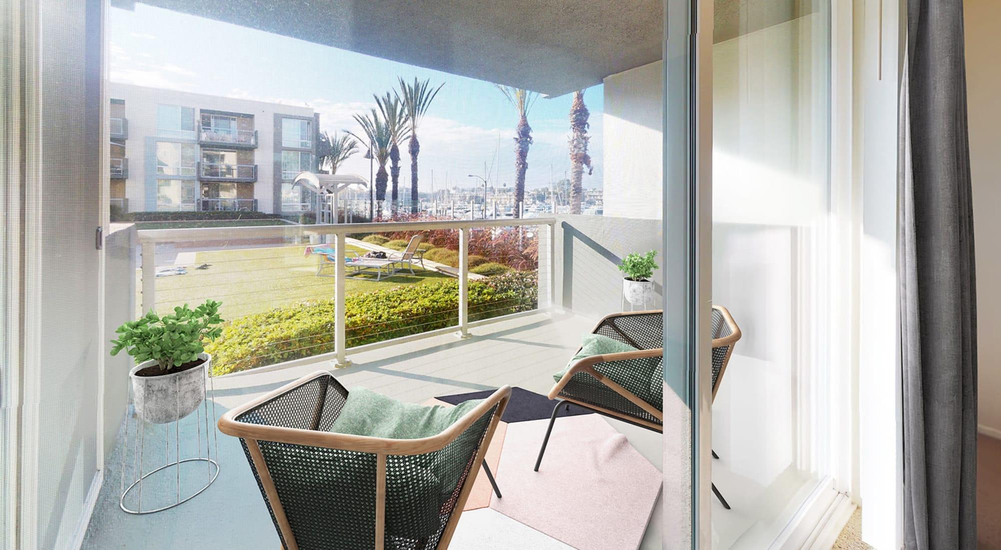 Balcony with views of the marina from a luxury home at Waters Edge at Marina Harbor in Marina Del Rey, California