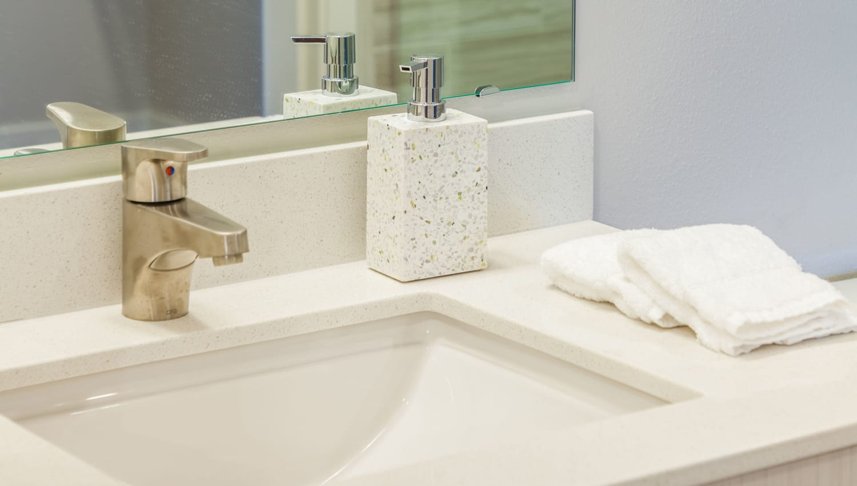 Bathroom details at Capitol Flats in Santa Fe, New Mexico