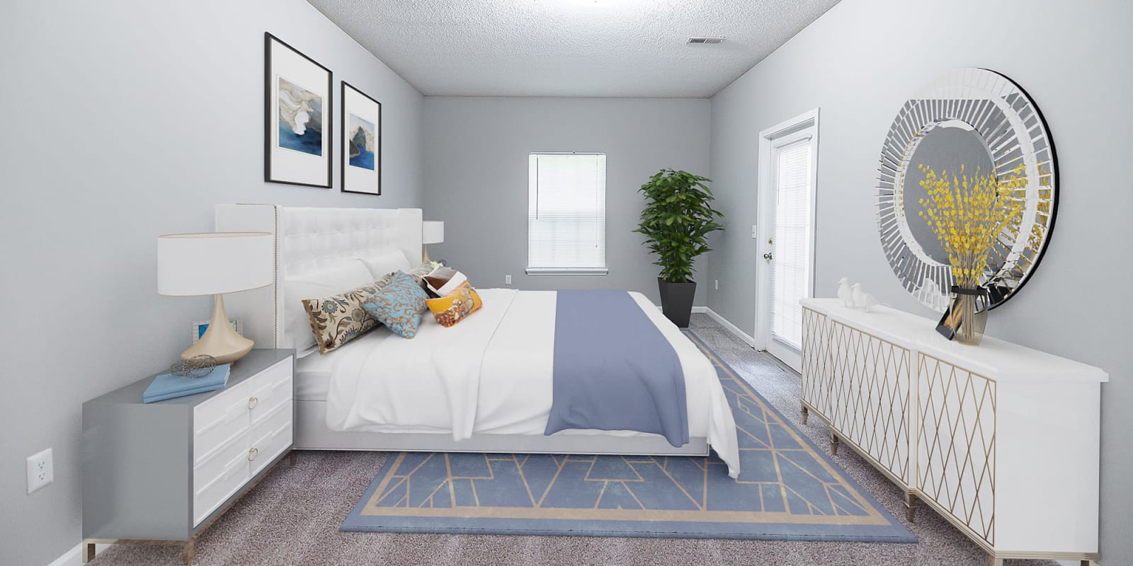 Spacious Bedroom at Clemmons Station Apartment Homes in Clemmons, North Carolina