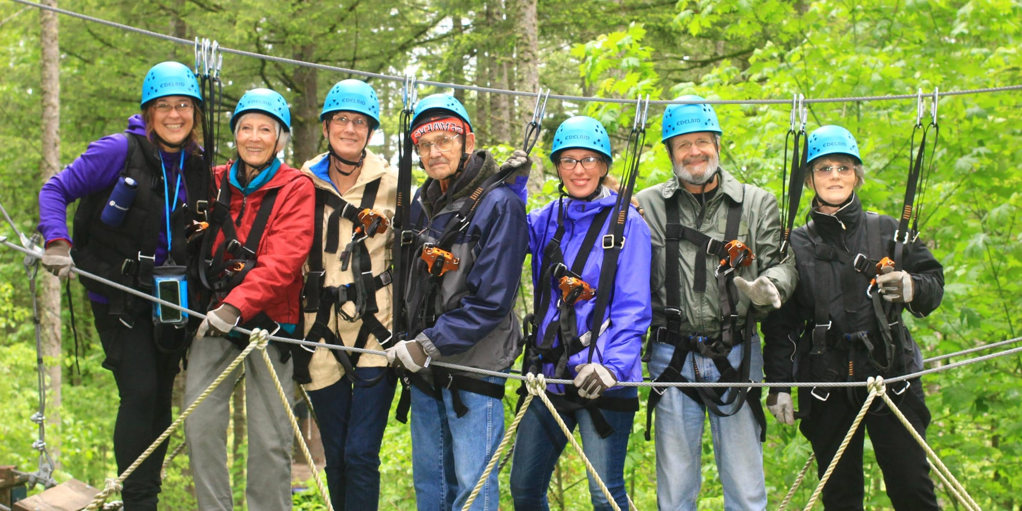 Residents of Stoneybrook Assisted Living in Corvallis, Oregon Zip Lining