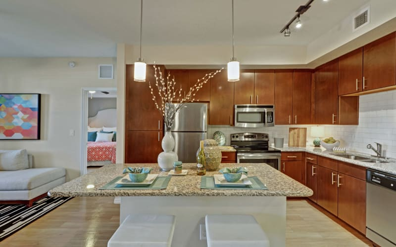 Bright kitchen at Linden Pointe in Pompano Beach, Florida