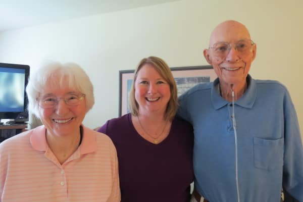 Eileen Fox, and Lou and Marge Johnson, residents at Camden Springs Gracious Retirement Living in Elk Grove, California