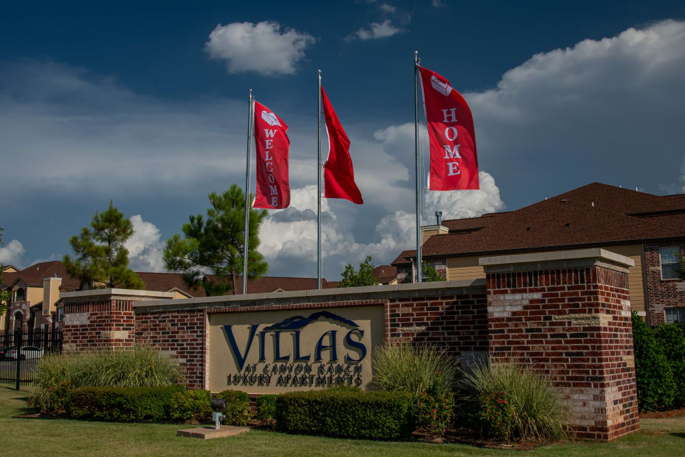 Welcome home signage at Villas at Canyon Ranch in Yukon, Oklahoma