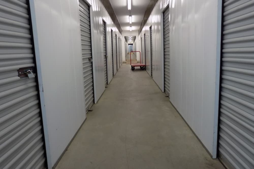 Clean hallway at DTC Self Storage in Centennial, Colorado