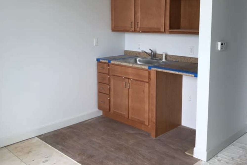 A kitchen being constructed at Serenity, A Randall Residence