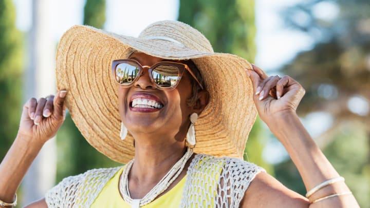 Lady enjoying sunshine at Waltonwood