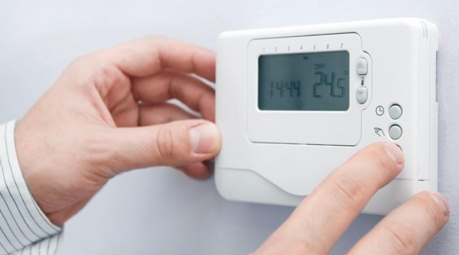 Temperature control thermostat at KO Storage of Bethany in Bethany, Oklahoma