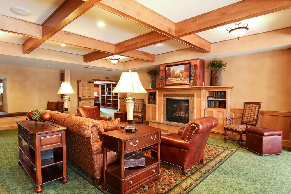Fireside parlor at Applewood Pointe of Roseville at Langton Lake in Roseville, Minnesota.