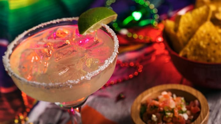 Festive margarita at a locals favorite bar near Tacara at Westover Hills in San Antonio, Texas
