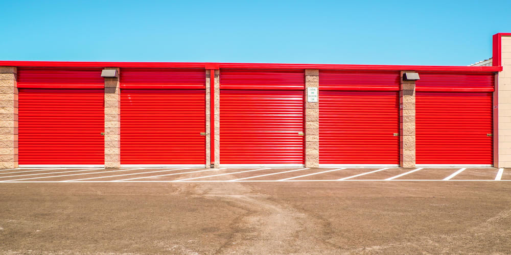 Outdoor units withbright doors at StorQuest Express Self Service Storage in South Lake Tahoe, California