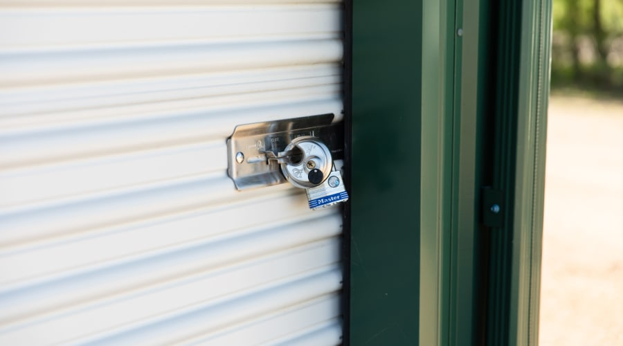 A storage unit with a lock at KO Storage of Knapp in Knapp, Wisconsin
