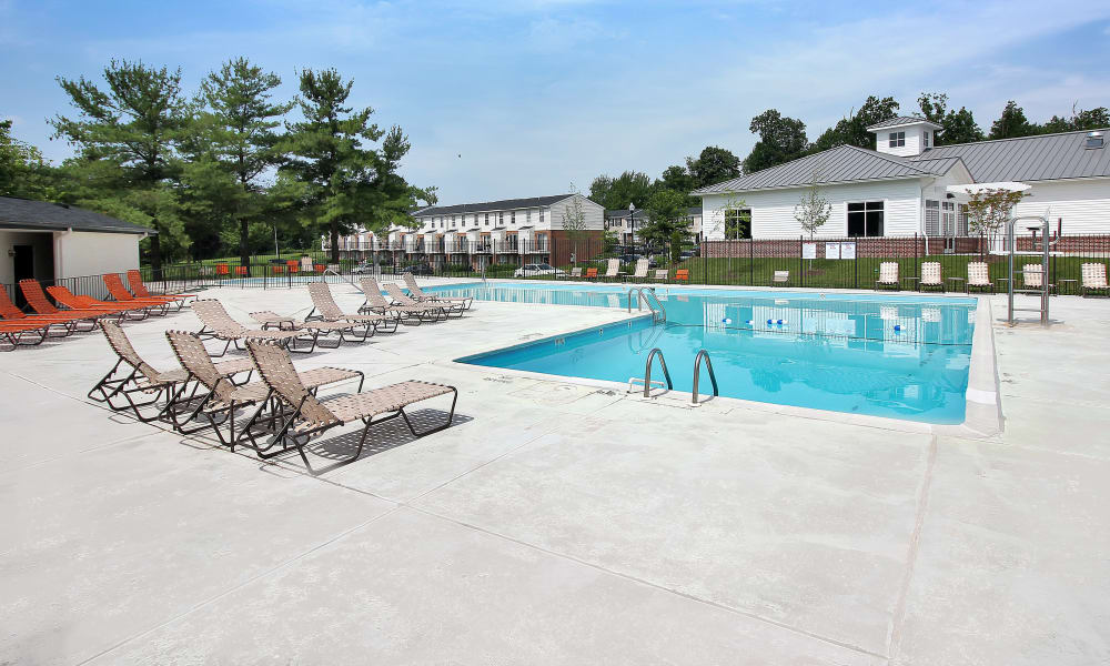 Beautiful swimming pool at The Apartments at Diamond Ridge in Baltimore, MD