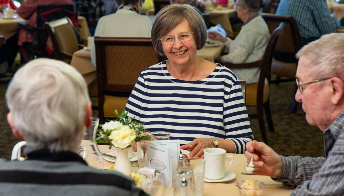 Residents eating together at Touchmark on West Century in Bismarck, North Dakota
