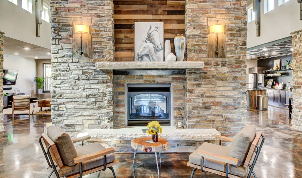 Fireplace & cozy seating at Timnath Trail