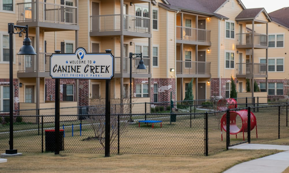 Large onsite dog park at Portico at Friars Creek Apartments in Temple, Texas