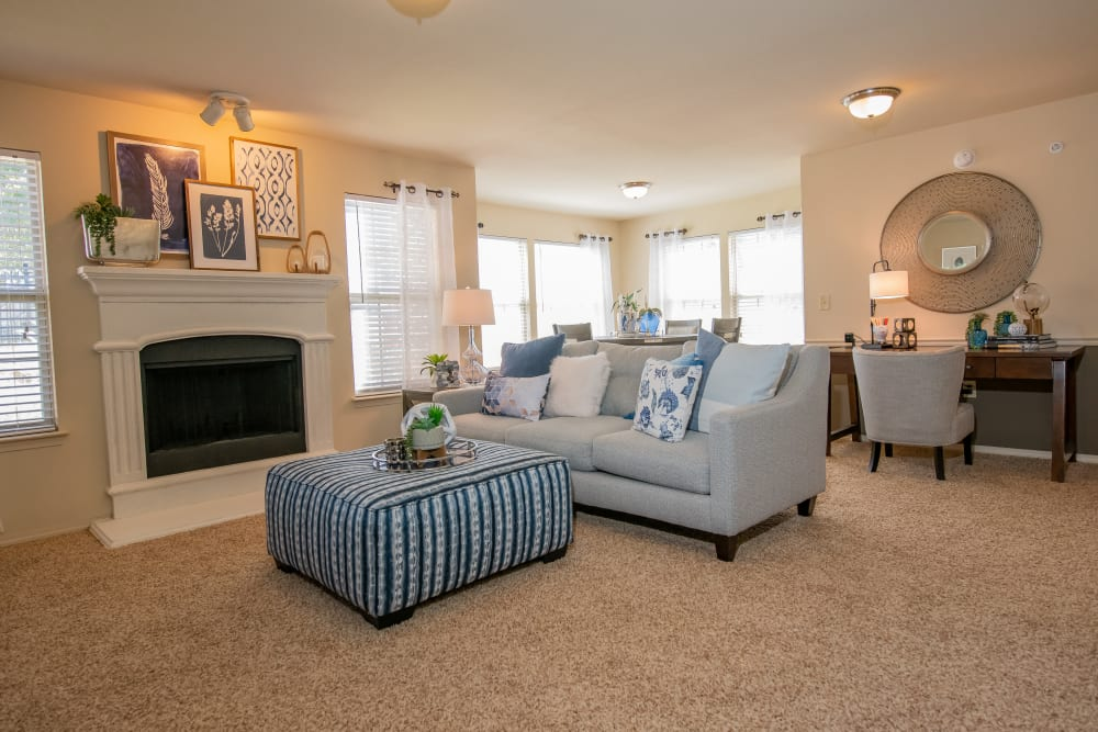 Bright living room at Tuscany Hills in Tulsa, Oklahoma