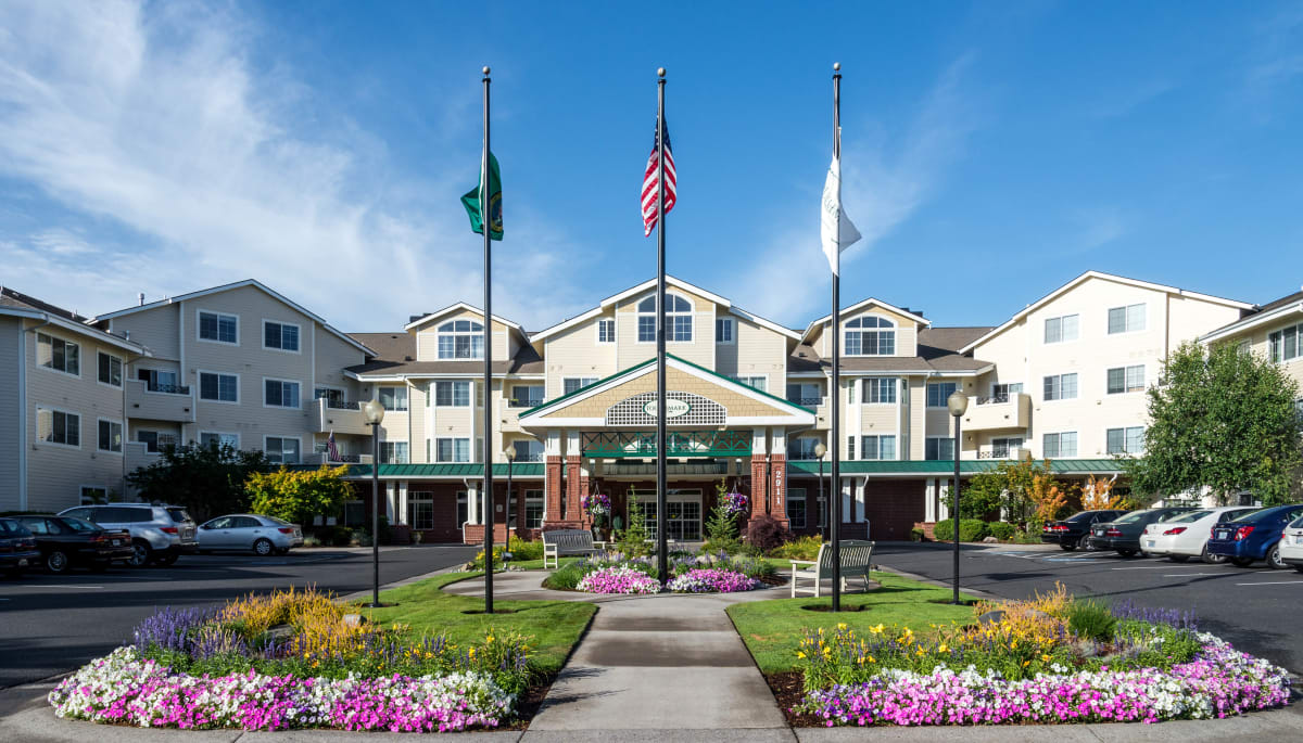 The main entrance at Touchmark at Fairway Village in Vancouver, Washington