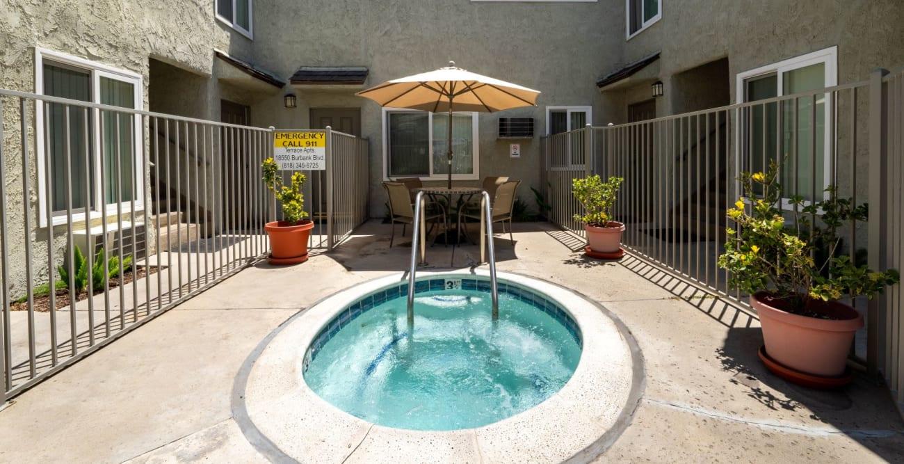 Hot tub at The Terrace in Tarzana, California