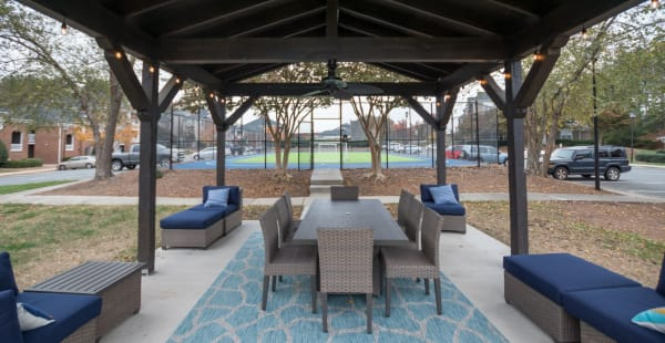 Outdoor community seating area at Palmetto Place in Fort Mill, South Carolina