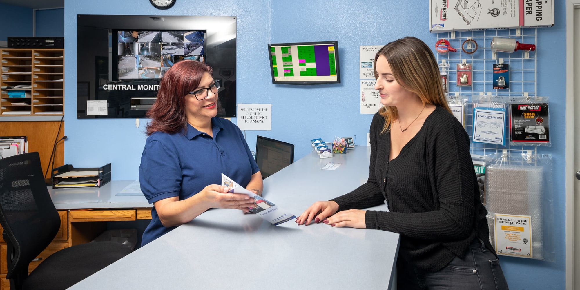 An employee and customer at Castro Valley Storage LLC in Castro Valley, California