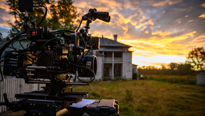 Camera set up to shoot movies in an outdoor location