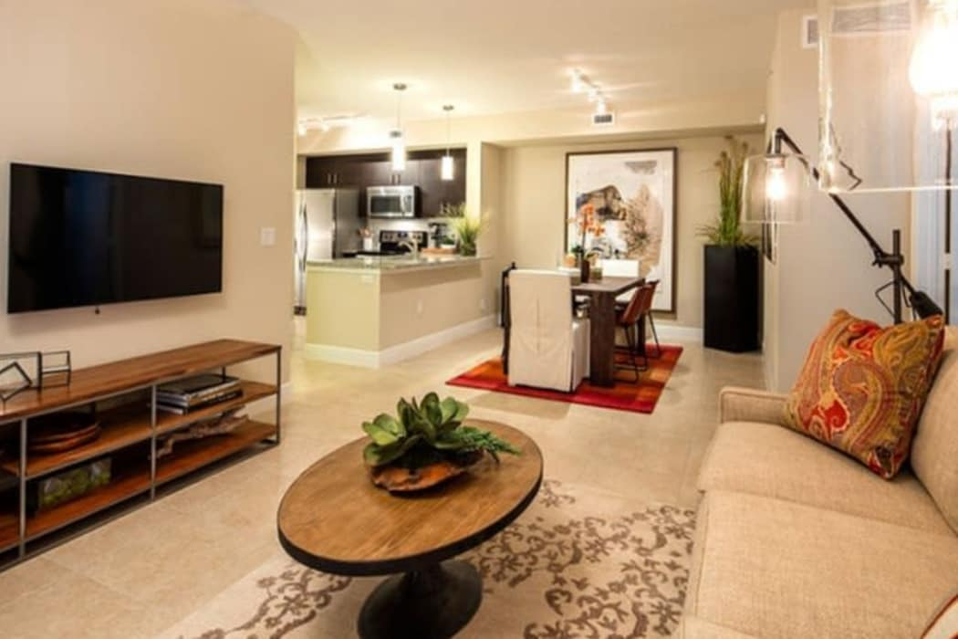 Well-designed model living room at our Mountain Gate community at Casa Vera