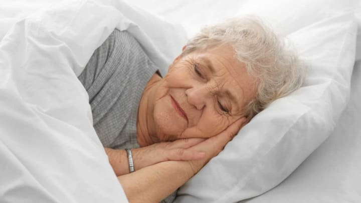 Resident practicing good sleeping habits