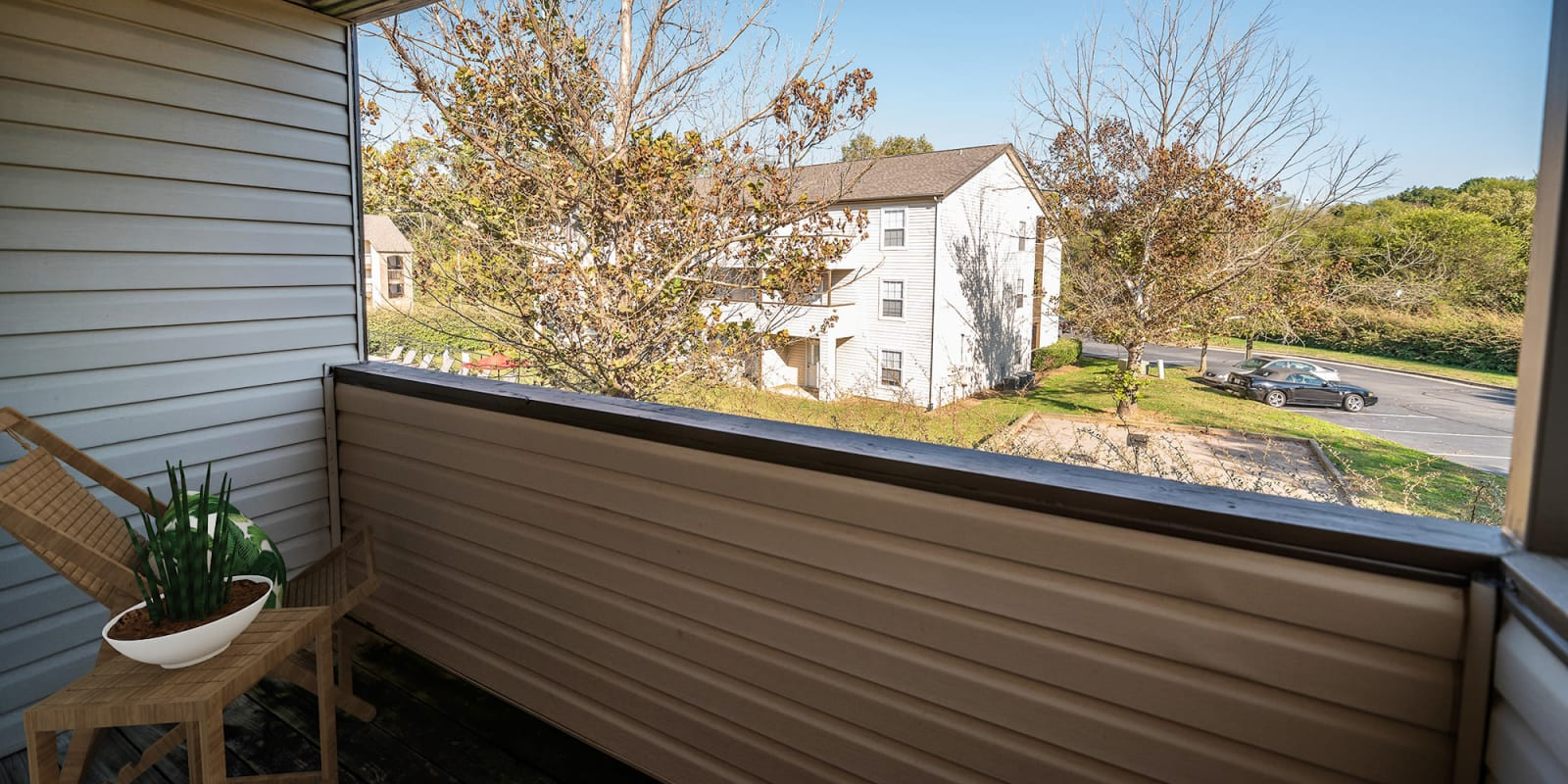 Balcony at Parkway Station Apartment Homes in Concord, North Carolina