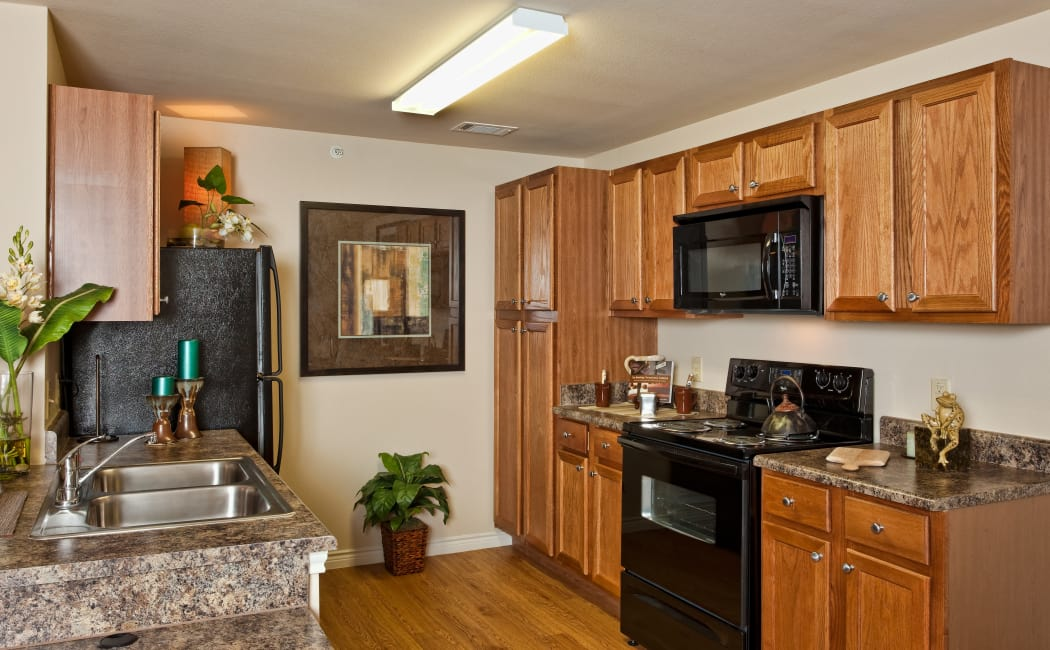 Gourmet kitchen with granite countertops and black appliances in model home at Springmarc Apartments in San Marcos, Texas