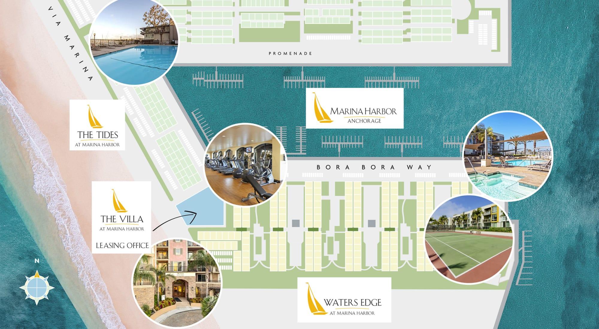 Overall neighborhood site plan for The Villa at Marina Harbor in Marina del Rey, California