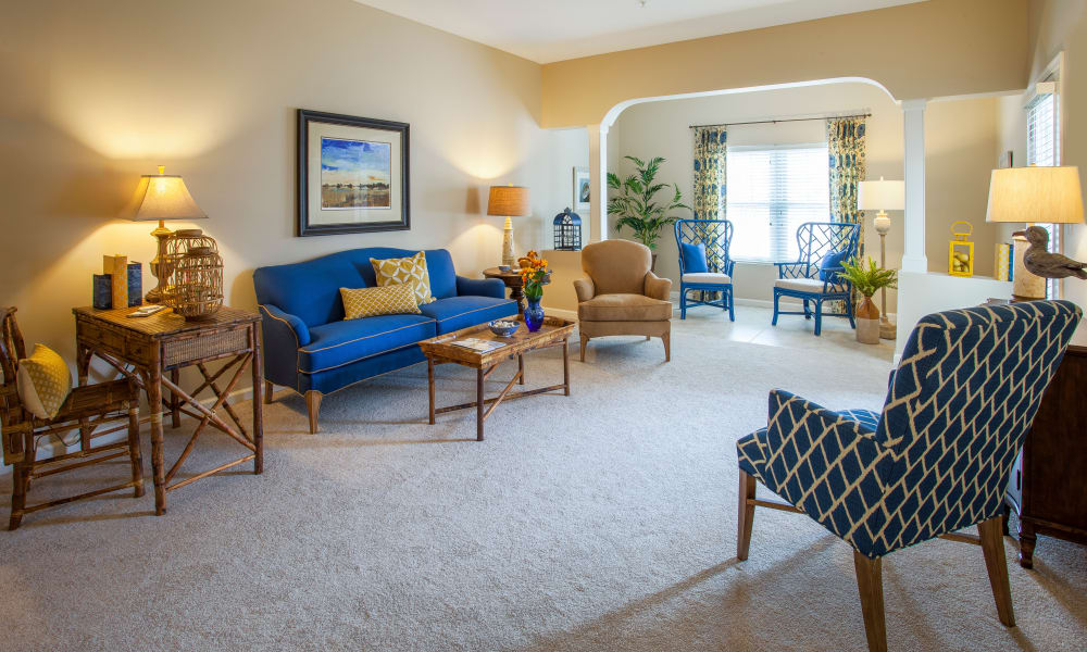 A spacious apartment living room at Keystone Place at  Buzzards Bay in Buzzards Bay, Massachusetts