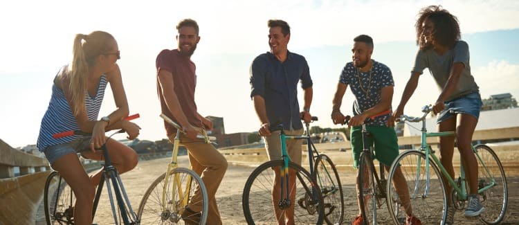 Group of resident friends going for a bike ride at the beach near Ashley Arms in Charleston
