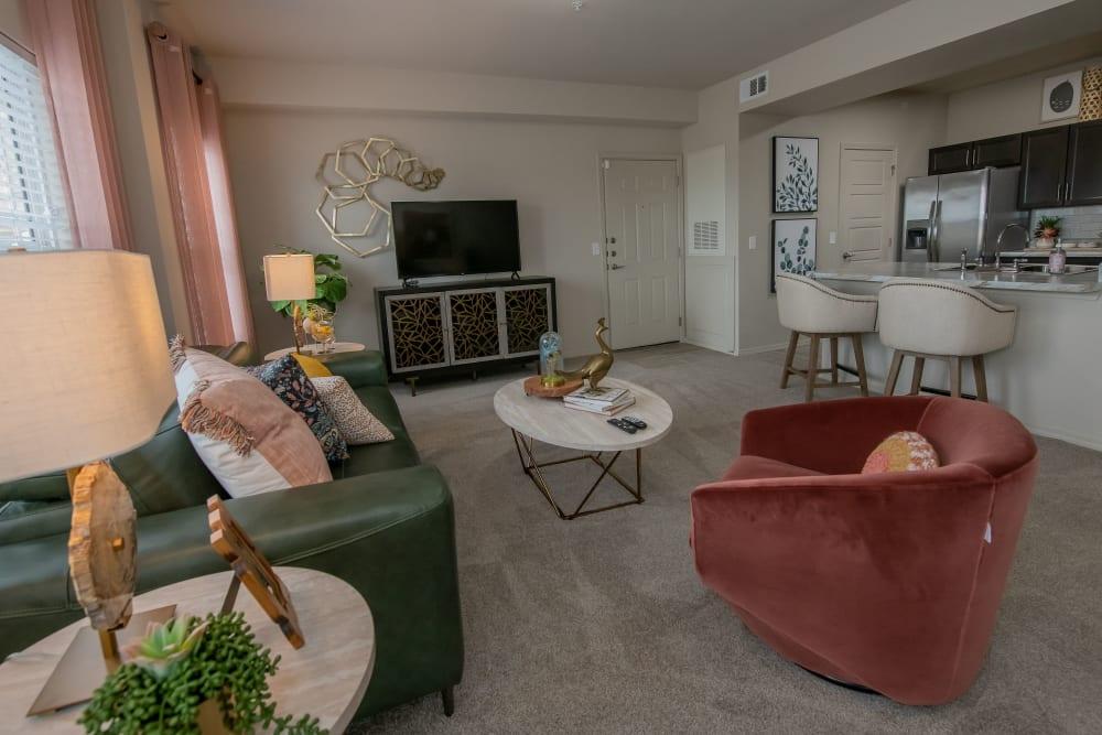 Spacious living room at 97@ North Oak in Kansas City, Missouri