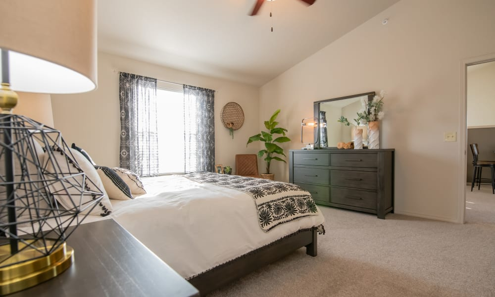 Large and bright bedroom at Portico at Friars Creek Apartments in Temple, Texas