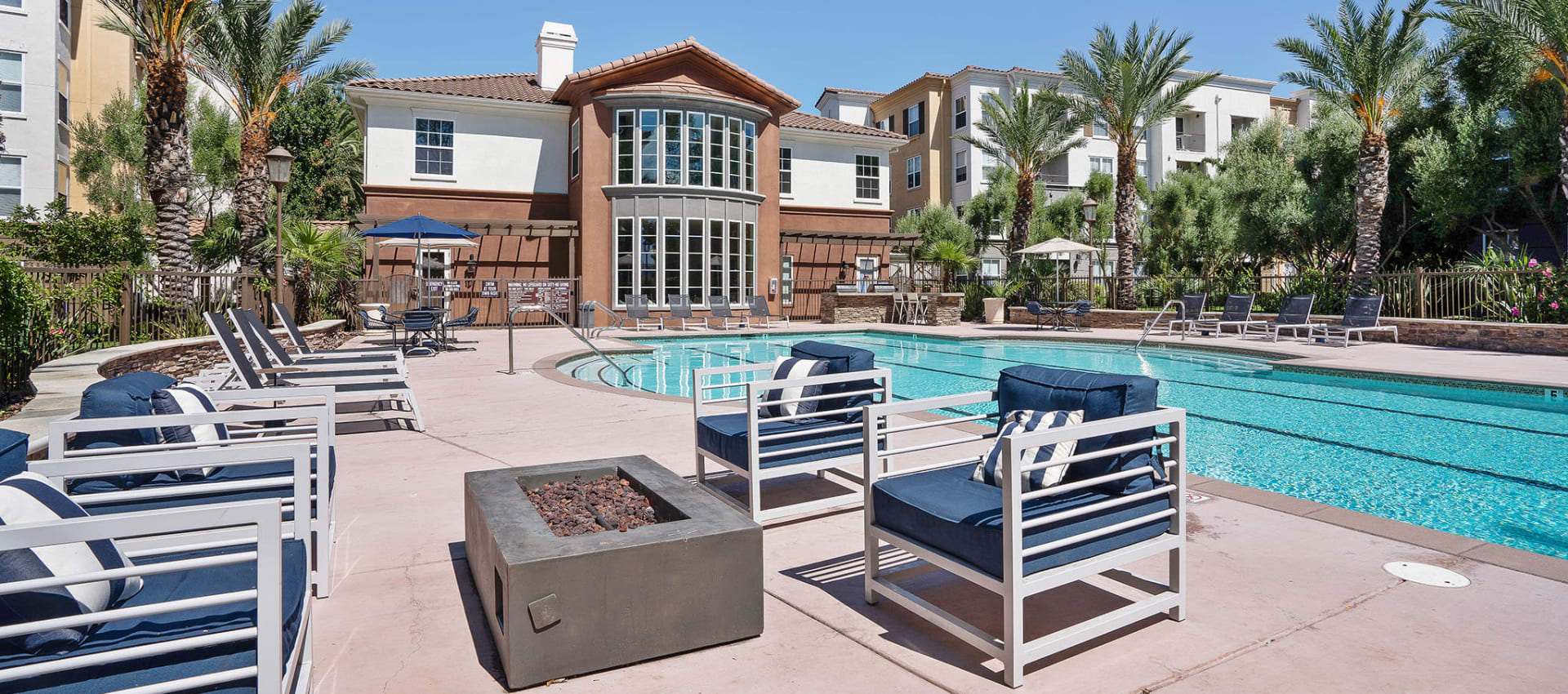 Lounge seating at the swimming pool at Park Central in Concord, California