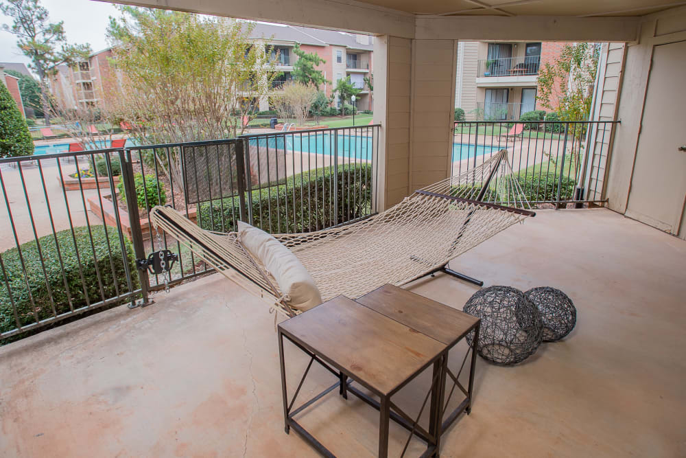 A private balcony at Copperfield Apartments in Oklahoma City, Oklahoma