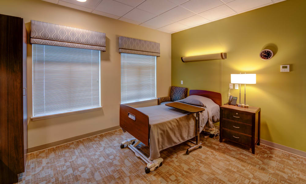 A spacious suite at Mission Healthcare at Renton in Renton, Washington.