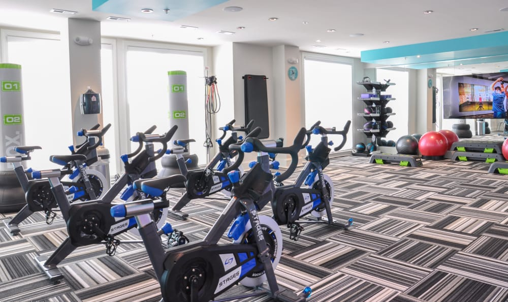 Well-equipped fitness center at Aqua on 25th in Virginia Beach, VA
