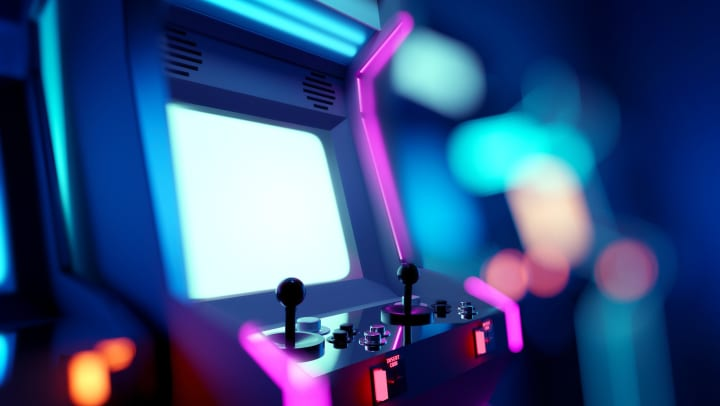 A classic standup arcade game with a bright white screen.