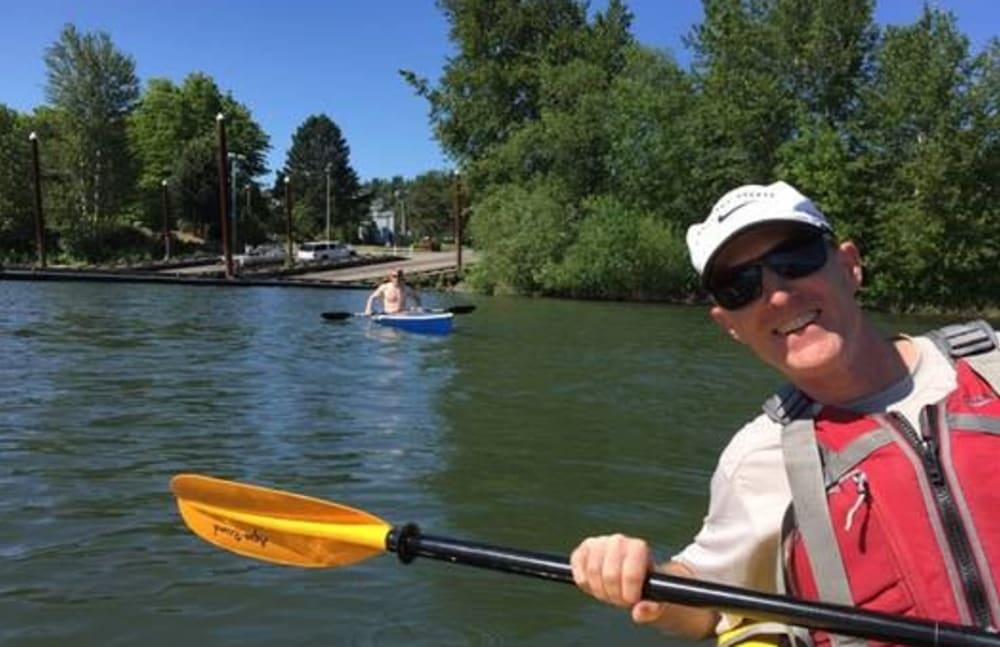 Bret from Touchmark at Wedgewood in Edmonton, Alberta kayaking