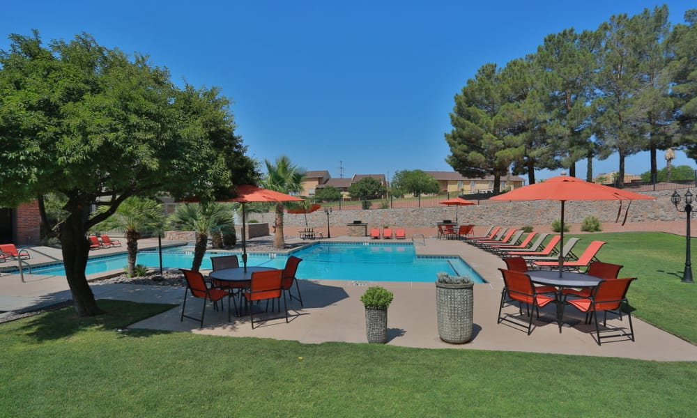 Swimming pool at High Ridge Apartments in El Paso, Texas