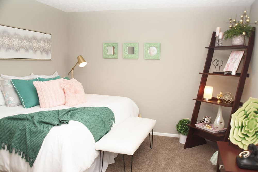 Comfortable bedroom at Fox Chase Apartments in Cincinnati, Ohio