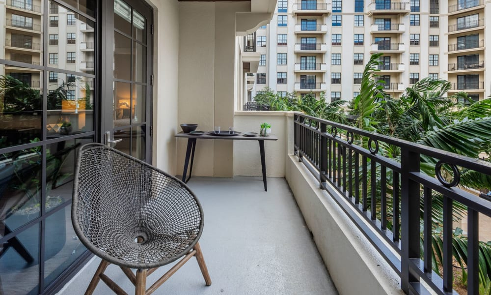 Outdoor patio area with cool, relaxing chair to sit in at 6600 Main in Miami Lakes, Florida