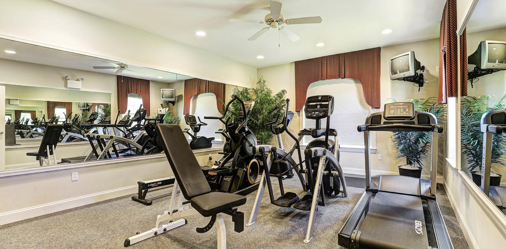 Well-equipped onsite fitness center at Hanover Glen in Bethlehem, Pennsylvania