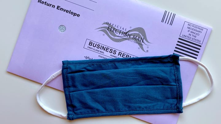voting ballot envelope and face mask