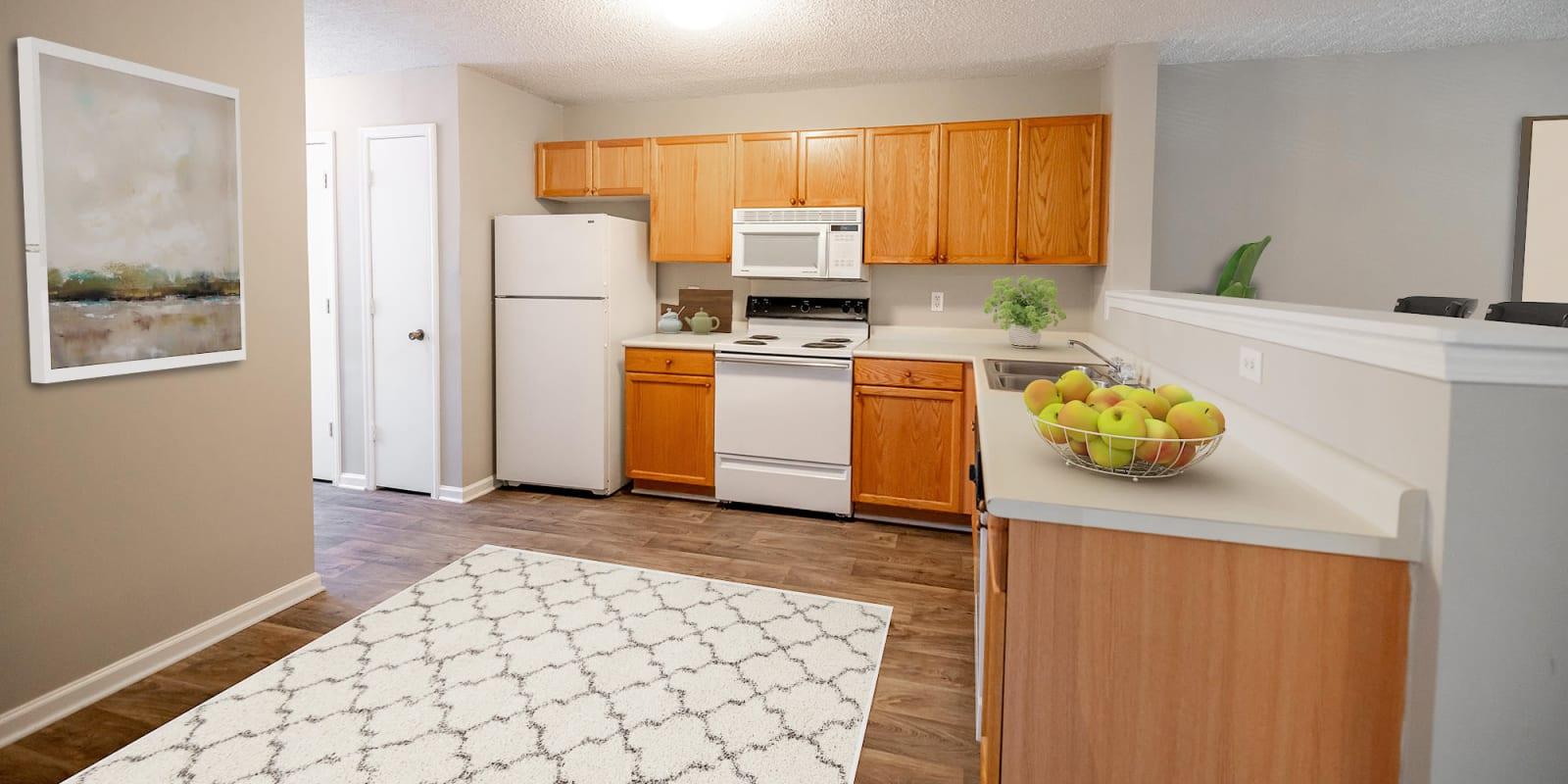 Bright Spacious Kitchen at Kannan Station Apartment Homes in Kannapolis, North Carolina