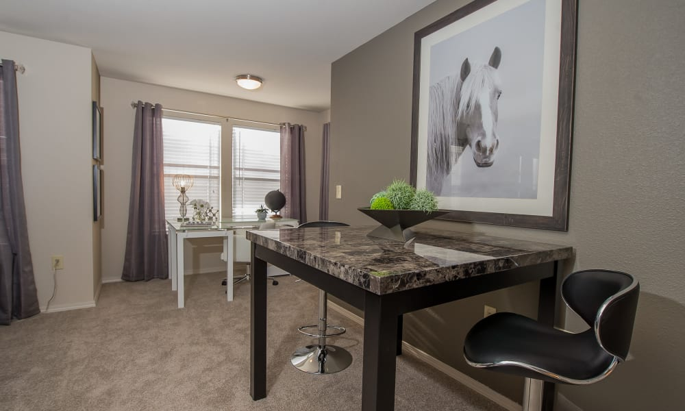 In-home office area at Cottages at Tallgrass Point Apartments in Owasso, Oklahoma
