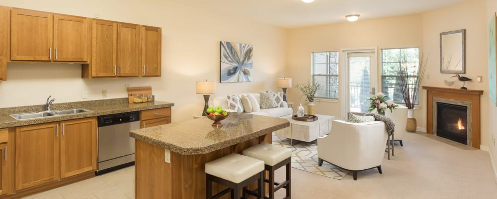 Kitchen and living room at The Springs at Tanasbourne in Hillsboro, Oregon