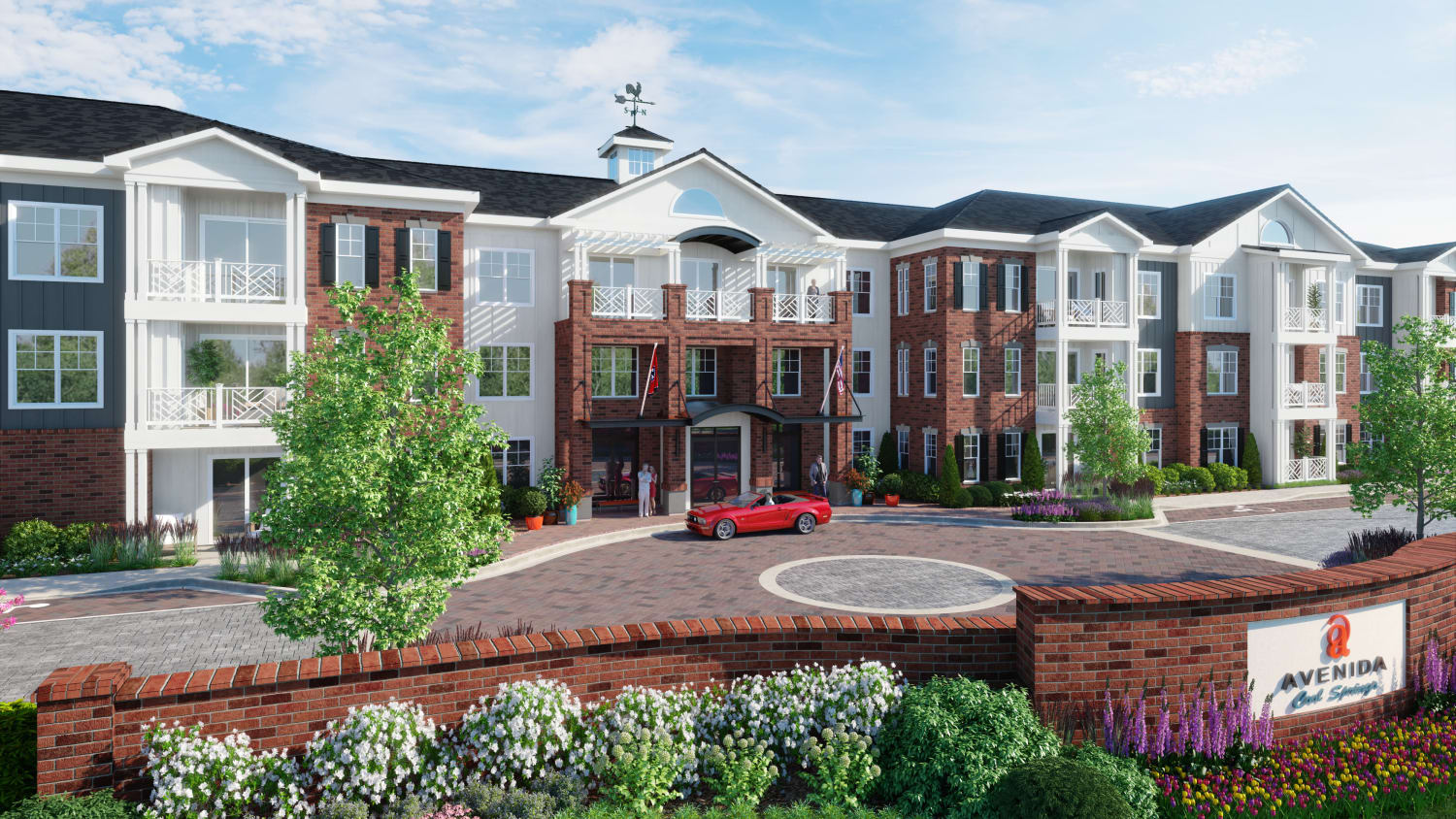 Rendering of front entrance at Avenida Cool Springs senior living apartments in Franklin, Tennessee